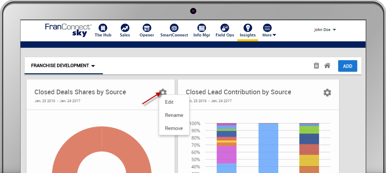 FranConnect Sky Insights is a business intelligence tool created for franchise systems.
